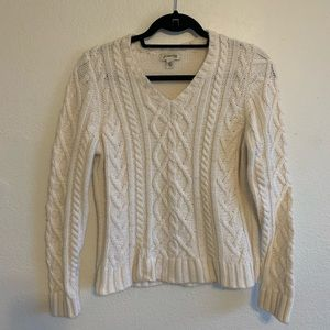 St Johns Bay cable knit white sweater
